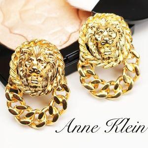 Anne Klein Gold Lion's Head Doorknocker Earrings